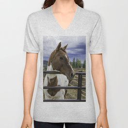 Beautiful Horse with Brown and White Patches Watching a Storm Coming in Unisex V-Neck
