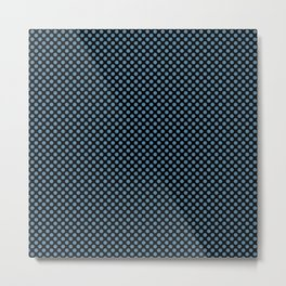 Black and Niagara Polka Dots Metal Print