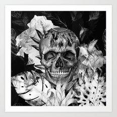 Black White Boho Skull Art Print