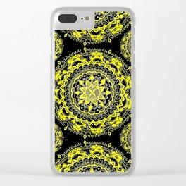 Black and Gold Regal Mandala Textile Clear iPhone Case