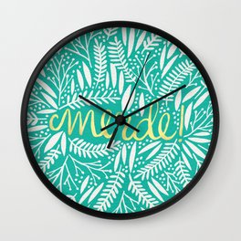 Pardon My French – Gold on Turquoise Wall Clock