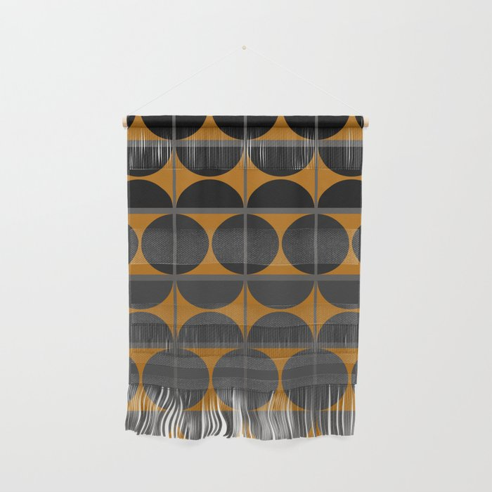 Black and Gray Gradient with Gold Squares and Half Circles Digital Illustration - Artwork Wall Hanging