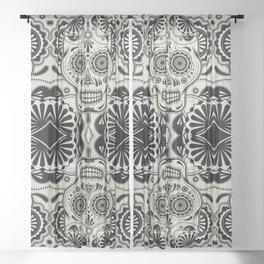 Sugar Skull Art B&W Sheer Curtain
