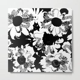 Black and white daisies Metal Print