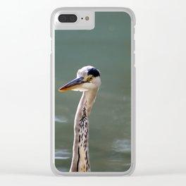 Grey Egret close up Clear iPhone Case