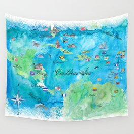 Caribbean Cruise Travel Poster Map Antilles West Indies Cuba Florida Wall Tapestry