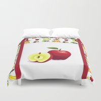 tote bag Duvet Covers featuring Red Apple and Tutti Frutti Tote Bag With Pretend Front Pocket And Rings by Moonlake Designs