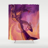 transformers Shower Curtains featuring Transformers Animated: Starscream by Esuerc Voltimand
