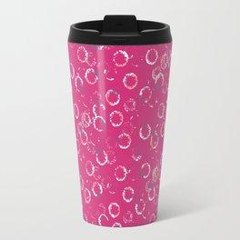 Polka Dots Stamps on Pink Yarrow Travel Mug
