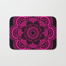 Mandala Flower Pink & Black Bath Mat