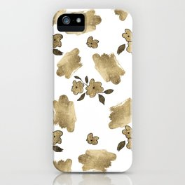 Modern white faux gold brushstrokes floral pattern iPhone Case