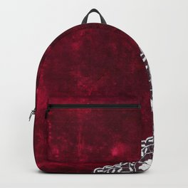 Elegant white Vintage Lace with pearl and ribbon on dark red grunge backround Backpack