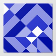 Blue and White Geometric Abstract Canvas Print