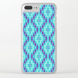 Tribal Diamonds in Purple, Turquoise and Mint Clear iPhone Case