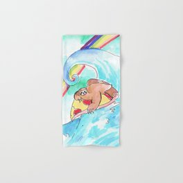 surfing sloth pizza rainbow Hand & Bath Towel