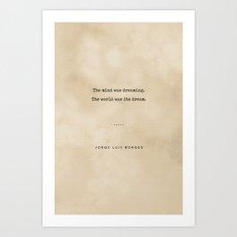 Jorge Luis Borges Quote 02 - Typewriter Quote on Old Paper - Minimalist Literary Print Art Print