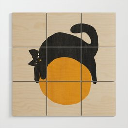 Cat with ball Wood Wall Art