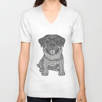 rottweiler V-neck T-shirts featuring Courageous- Rottweiler by DiAnne Ferrer