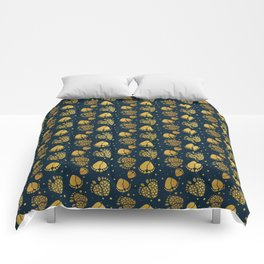 Baby Feet and Hearts Seamless Pattern in gold color Comforters
