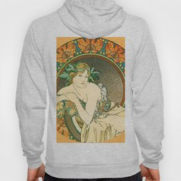 "Alphonse Mucha ""Woman with Poppies"" Hoody"