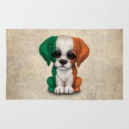 Cute Puppy Dog with flag of Ireland Rug