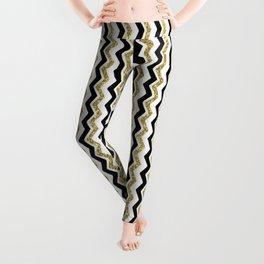 Black Gold White ZigZag Pattern 1 Leggings