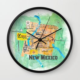USA New Mexico State Illustrated Travel Poster Favorite Map Wall Clock