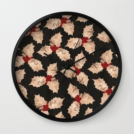 Christmas Gold and Red Holly Berry Wall Clock