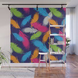 Bright Falling Feathers Wall Mural