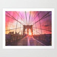 New York City Brooklyn Bridge Sunset Art Print