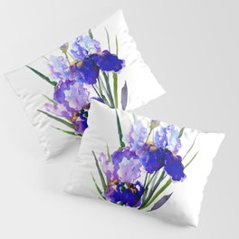 Garden Irises, Blue Purple Floral Design Pillow Sham