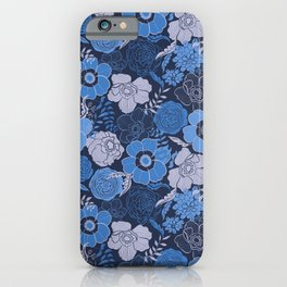 blue anemones and roses iPhone Case