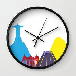 Rio de Janeiro skyline pop Wall Clock