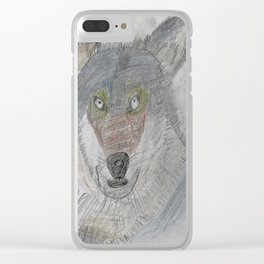 Sculpting a Wolf on Paper Clear iPhone Case