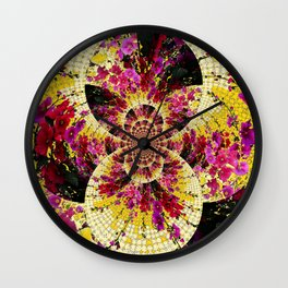 ABSTRACTED FUCHSIA-PINK HOLLYHOCKS GARDEN FLORA Wall Clock