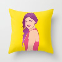 pretty little liars Throw Pillows featuring Pretty little liars - Lucy Hale by Lais Design