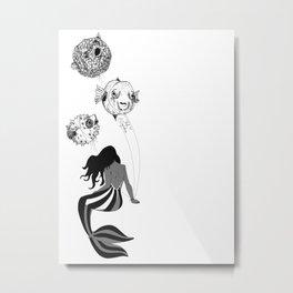 Circus Mermaid and Balloon Fish Metal Print