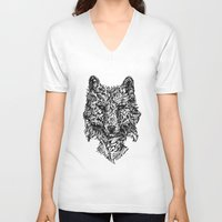 hunter V-neck T-shirts featuring Hunter by René Campbell