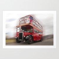 Old Red London Bus Vintage transport Art Print