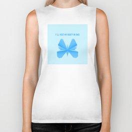 Blue Butterfly Aunty - Origami Blue Butterfly Biker Tank