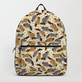 Adorable Racoon Friends, Animal Pattern in Nature Colors of Grey and Brown with Paw Prints Backpack
