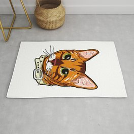 Toyger Cat face Cats orange cute funny gift comic Rug