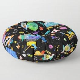 Watercolor Dinosaur Space Construction Floor Pillow