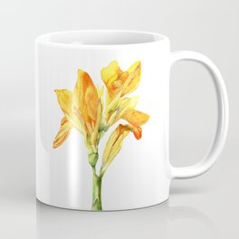 Golden Canna Yellow Flower Watercolor Painting Coffee Mug
