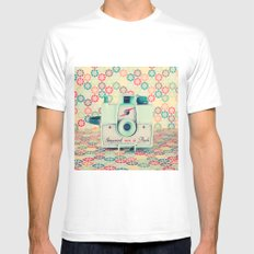 Film Mint Camera on a Colourful Retro Background  White MEDIUM Mens Fitted Tee