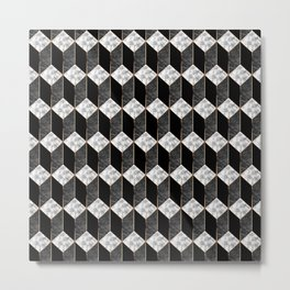 Geometric marble 3D rectangle Metal Print