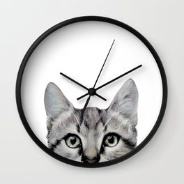 Cat, American Short hair, illustration original painting print Wall Clock