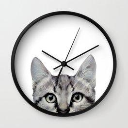 Cat, American Short hair, illustration original painting print Wall Clock