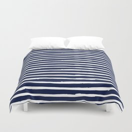 Navy Blue Stripes on White II Duvet Cover