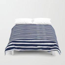 Navy Blue Stripes on White II Duvet Cover